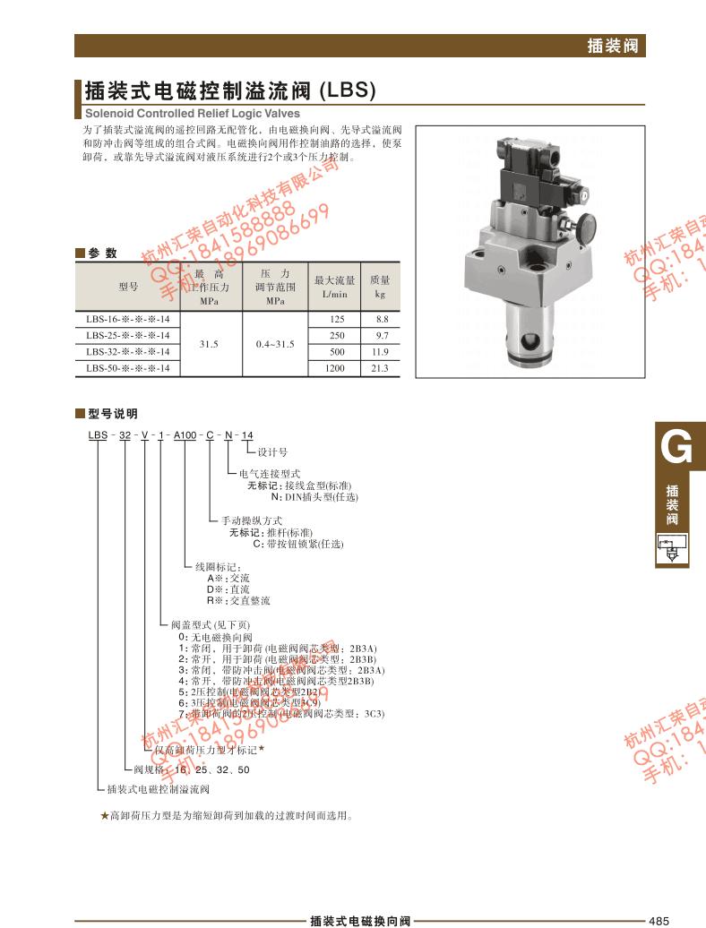 插装式电磁控制溢流阀